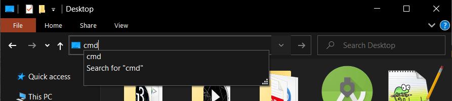 opening cmd in file explorer